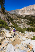 Hiker in the Big Pine Lakes basin, John Muir Wilderness, California USA