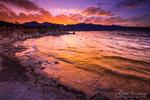 Sunset over the Sierra Nevada Mountains from Mono Lake, Mono Basin National Scenic Area, California USA