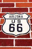 Highway sign on historic Route 66, Seligman, Arizona USA