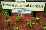 Hawaii Tropical Botanical Garden sign, Hamakua Coast, The Big Island, Hawaii USA