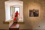 Woman enjoying the view from Lotrš?ak Tower in old town Gradec, Zagreb, Croatia