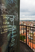 Graffiti and city view from Lotrš?ak Tower in old town Gradec, Zagreb, Croatia