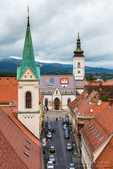Saint Mark's Church from Lotrš?ak Tower in old town Gradec, Zagreb, Croatia