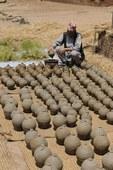 drying pottery, Bhaktapur, Nepal