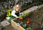 Girl planting seeds in her garden.