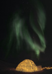 Northern lights above igloo