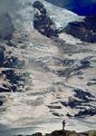 Lone hiker dwarfed by massive Mt. Rainier