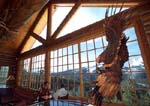Ski lodge restaurant with carved eagle