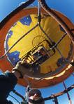 Pilot flies hot air balloon