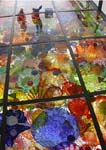 Reflections in ceiling of glass flowers