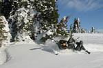 Snowmobiler on edge