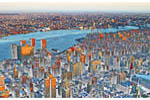 Manhattan Weird. An artistic look at the lower and midtown Manhattan skyline including the East River from the observation deck of the Empire State Building.
