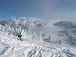 Enjoying the runs at the top of West Bowl, Sun Peaks, BC, Canada.