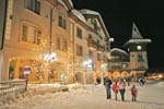 Night stroll in the center of Sun Peaks resort village.