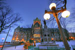 Chateau Frontenac at dusk in winter.