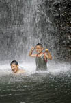 Fun in waterfall