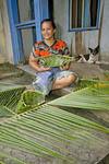 Weaving basket in Micronesia