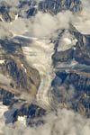 Greenland mountains, icecap and glaciers from the air