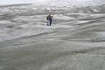 Tourist women stand on icecap
