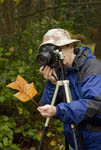 Photographing fall leaf
