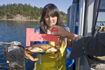 Young woman of Asian descent watches Capt. Gary Le Marchant inspect freshly caught dungeness crabs to make sure they are all legal.