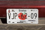 Car licence tag for Sinaloa state, Mexico.