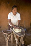 Native Mayo woman makes tortillas by hand in small village of Capomos outside El Fuerte, Mexico, Copper Canyon