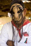 Native man in ceremonial dance costume in Mayo village of Capomos, Mexico