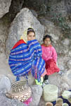 Tarahumara native Indian girls living at the side of a cliff below the Hotel Posada Barrancas in the Divisadero area of Copper Canyon.