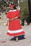 Native Tarahumara woman demonstrates