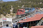 Copper Canyon (El Chepe) train arrives at Divisadero station along the Copper Canyon route in Mexico.