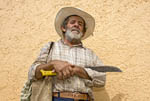 Local man shows off  his machete in El Quelite, Mexico.
