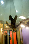 "Man flies upside down at ""I Fly Utah,"" a vertical wind tunnel that gives people a free fall experience."