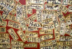Signed dollar bills on ceiling of the Shooting Star Saloon in Huntsville, Utah.