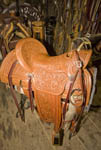 One of Glen Thompson's, hand made saddles in his shop in Eden Utah. The stencil for this saddle took 85 hours to design and apply.