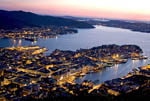 View at dusk in late spring of the waterfront and harbor of Bergen, Norway, from the top of the Fløibanen funicular.