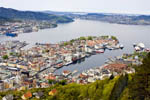 View in late spring of the waterfront and harbor of Bergen, Norway, from the top of the Fløibanen funicular.