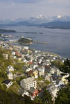 Aerial view of Ålesund, the surrounding archipelago and the Sunnmore Alps from Aksla Mountain.