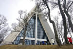 Arctic Cathedral in Tromsø, Norway, rises 120 feet (36 metres) into the air like a mountain of ice. Inside, a stained glass depiction of Jesus Christ holds 11 tons of inlaid bits of colored glass.
