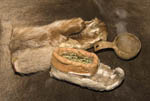 Sámi footwear made of reindeer hide and stuffed with grass for insulation along with mitten and a gourd of steaming reindeer broth.
