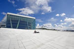 """The Carpet,"" a sloping stone ramp of white Italian marble leading to the roof of The Oslo Opera House."