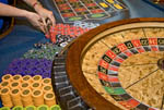 Scene on gaming floor of casino: roulette wheel, South Lake Tahoe, Nevada, USA.