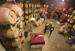 Wine tasting festival where people get to taste wine directly from barrels. This winery, Madroña, in Placerville, California, USA, gives visitors a taste of young wine and then demonstrates how wines are blended.