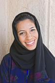 Arab woman in Muslim hijab dress.