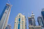 Skyline & construction cranes, Dubai, UAE