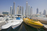 Skyline, Dubai, UAE, seen from dock.