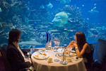 Burj Al Arab Hotel restaurant, Al Mahara, a seafood restaurant accessible by a three minute virtual submarine voyage.
