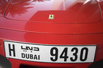 Licence plate on Ferrari car in Dubai, UAE.