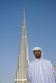 Arab man at Burj Khalifa, tallest building in the world, Dubai, UAE