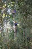 Having fun on ziplines at canopy tour